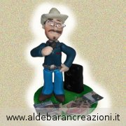 Cake topper country, idea regalo country, statuina personalizzata per amante dello stile country, interamente fatta  a mano.