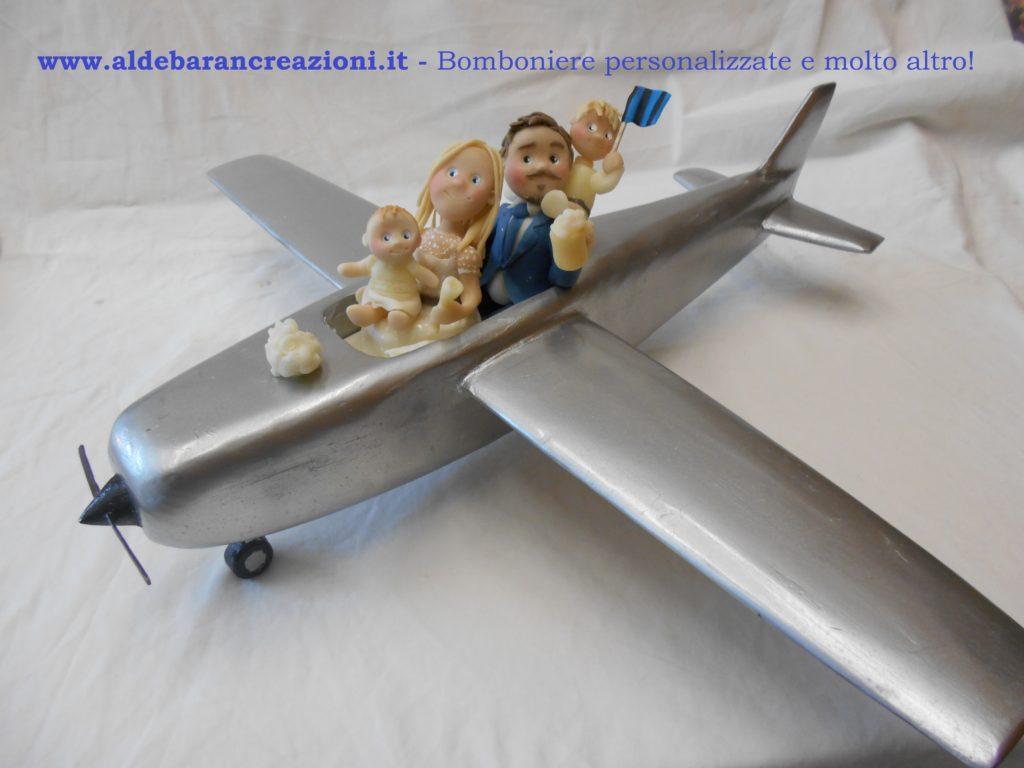 cake topper sposi su aereo
