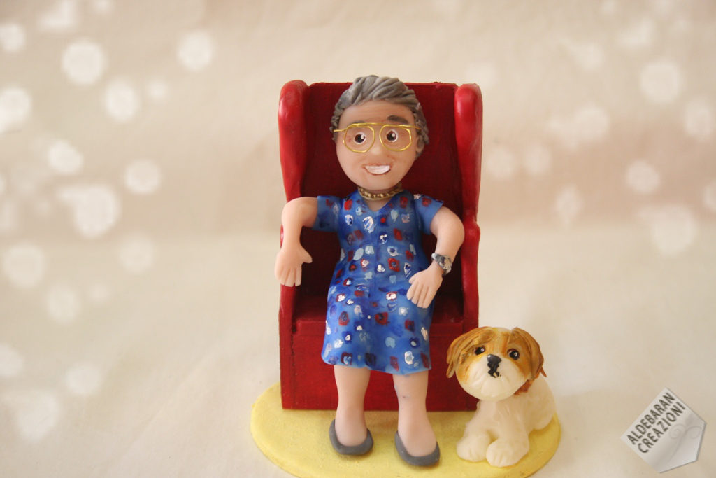 cake topper compleanno nonna poltrona