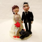 sposi per torta con cane